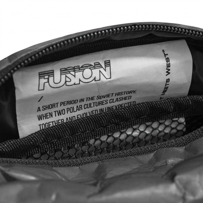 Tyvek Paper Printed Trim in Charcoal and Black Waist Bag by Fusion